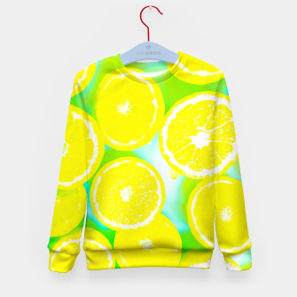Miniatur juicy yellow lemon pattern abstract with green background Kid's Sweater, Live Heroes