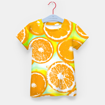 Miniaturka juicy orange pattern abstract with yellow and green background Kid's T-shirt, Live Heroes