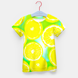 Miniaturka juicy yellow lemon pattern abstract with green background Kid's T-shirt, Live Heroes
