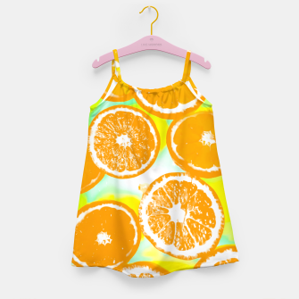 juicy orange pattern abstract with yellow and green background Girl's Dress imagen en miniatura