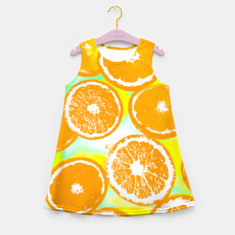 juicy orange pattern abstract with yellow and green background Girl's Summer Dress imagen en miniatura