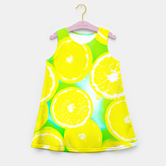Miniaturka juicy yellow lemon pattern abstract with green background Girl's Summer Dress, Live Heroes