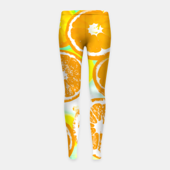 juicy orange pattern abstract with yellow and green background Girl's Leggings imagen en miniatura