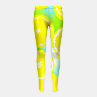 Thumbnail image of juicy yellow lemon pattern abstract with green background Girl's Leggings, Live Heroes
