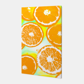 juicy orange pattern abstract with yellow and green background Canvas imagen en miniatura