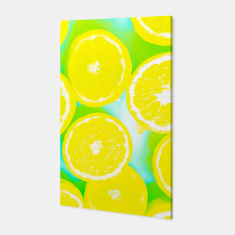 Miniaturka juicy yellow lemon pattern abstract with green background Canvas, Live Heroes
