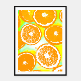 juicy orange pattern abstract with yellow and green background Framed poster imagen en miniatura