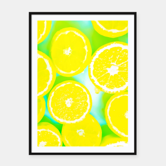 Imagen en miniatura de juicy yellow lemon pattern abstract with green background Framed poster, Live Heroes