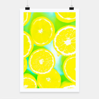 Miniature de image de juicy yellow lemon pattern abstract with green background Poster, Live Heroes