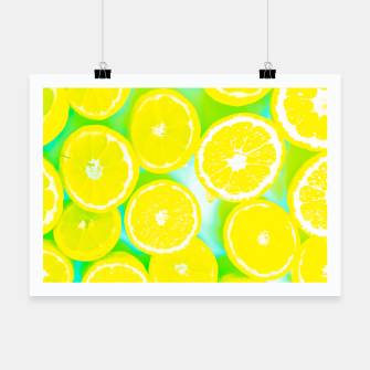 Miniaturka juicy yellow lemon pattern abstract with green background Poster, Live Heroes