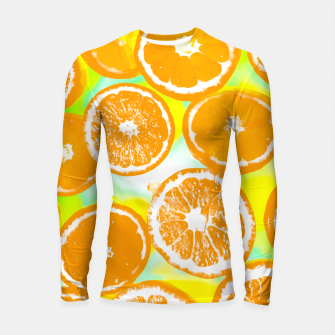 juicy orange pattern abstract with yellow and green background Longsleeve Rashguard  imagen en miniatura