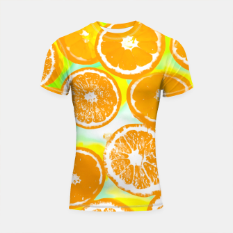 juicy orange pattern abstract with yellow and green background Shortsleeve Rashguard imagen en miniatura