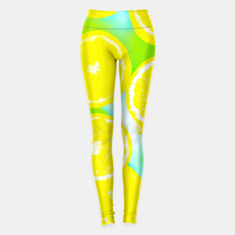 Miniature de image de juicy yellow lemon pattern abstract with green background Leggings, Live Heroes
