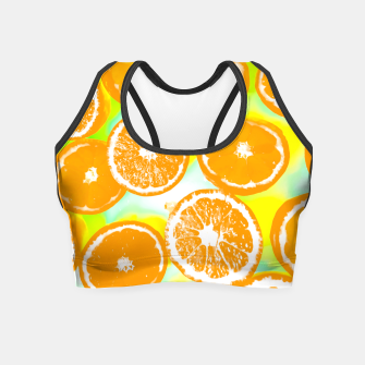 juicy orange pattern abstract with yellow and green background Crop Top imagen en miniatura