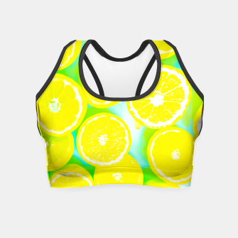 Miniaturka juicy yellow lemon pattern abstract with green background Crop Top, Live Heroes