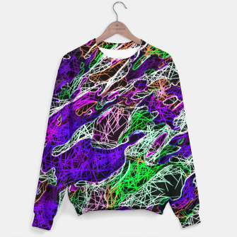 Miniature de image de psychedelic rotten sketching texture abstract background in purple blue green Sweater, Live Heroes