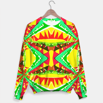 Miniature de image de psychedelic geometric abstract pattern background in yellow red green Sweater, Live Heroes