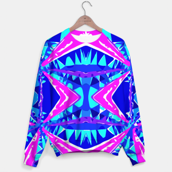 Miniature de image de psychedelic geometric abstract pattern background in blue pink purple Sweater, Live Heroes