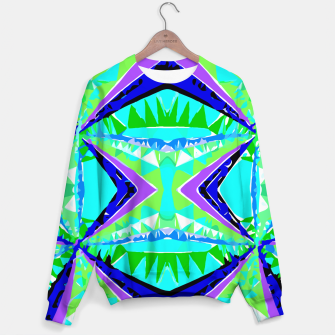 Miniature de image de psychedelic geometric abstract pattern background in green purple blue Sweater, Live Heroes