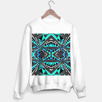 Thumbnail image of psychedelic geometric abstract pattern background in blue green black Sweater regular, Live Heroes