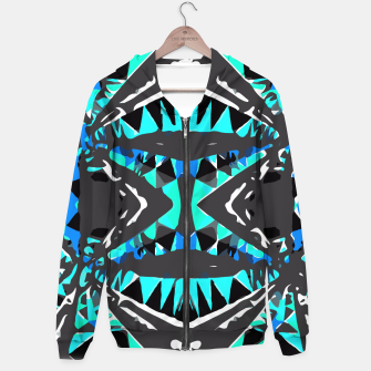 Miniature de image de psychedelic geometric abstract pattern background in blue green black Hoodie, Live Heroes