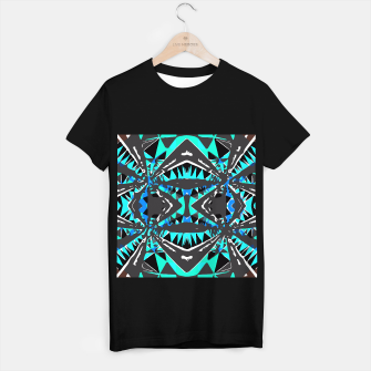 Miniaturka psychedelic geometric abstract pattern background in blue green black T-shirt regular, Live Heroes