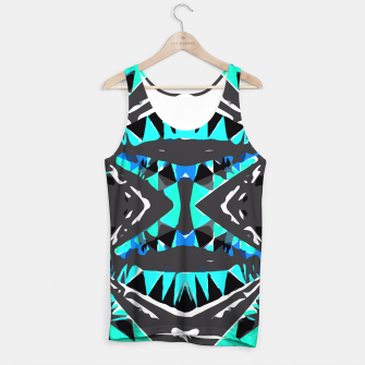 Miniature de image de psychedelic geometric abstract pattern background in blue green black Tank Top, Live Heroes