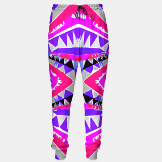 Thumbnail image of psychedelic geometric abstract pattern background in pink and purple Sweatpants, Live Heroes