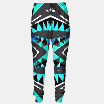 Thumbnail image of psychedelic geometric abstract pattern background in blue green black Sweatpants, Live Heroes