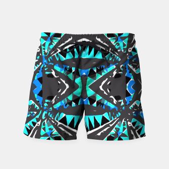 Miniature de image de psychedelic geometric abstract pattern background in blue green black Swim Shorts, Live Heroes