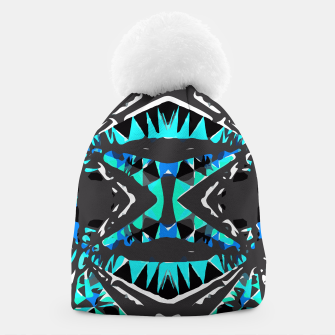 Imagen en miniatura de psychedelic geometric abstract pattern background in blue green black Beanie, Live Heroes