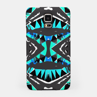 Miniaturka psychedelic geometric abstract pattern background in blue green black Samsung Case, Live Heroes
