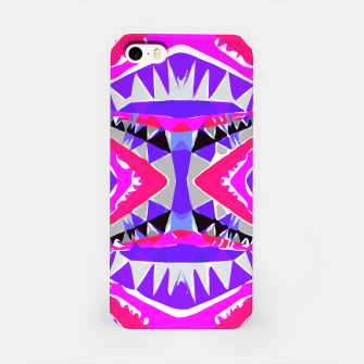 Miniature de image de psychedelic geometric abstract pattern background in pink and purple iPhone Case, Live Heroes