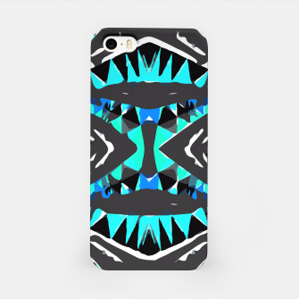 Miniature de image de psychedelic geometric abstract pattern background in blue green black iPhone Case, Live Heroes