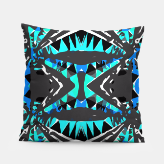 Miniaturka psychedelic geometric abstract pattern background in blue green black Pillow, Live Heroes