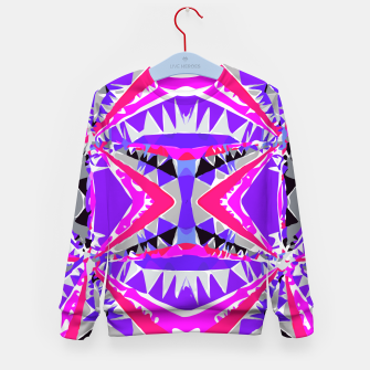 Miniatur psychedelic geometric abstract pattern background in pink and purple Kid's Sweater, Live Heroes