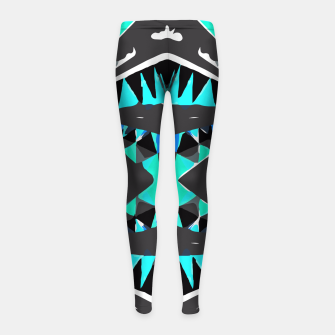 Thumbnail image of psychedelic geometric abstract pattern background in blue green black Girl's Leggings, Live Heroes