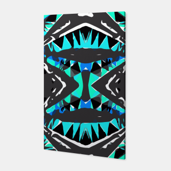 Miniaturka psychedelic geometric abstract pattern background in blue green black Canvas, Live Heroes