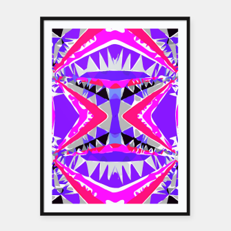 Miniature de image de psychedelic geometric abstract pattern background in pink and purple Framed poster, Live Heroes