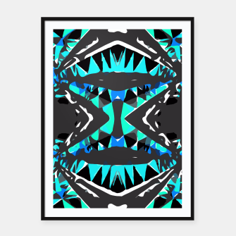 Miniature de image de psychedelic geometric abstract pattern background in blue green black Framed poster, Live Heroes