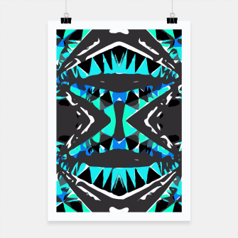 Miniature de image de psychedelic geometric abstract pattern background in blue green black Poster, Live Heroes
