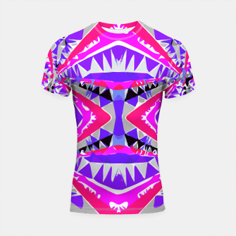 Miniature de image de psychedelic geometric abstract pattern background in pink and purple Shortsleeve Rashguard, Live Heroes