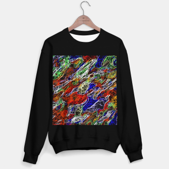 Thumbnail image of psychedelic rotten sketching texture abstract background in red blue green Sweater regular, Live Heroes