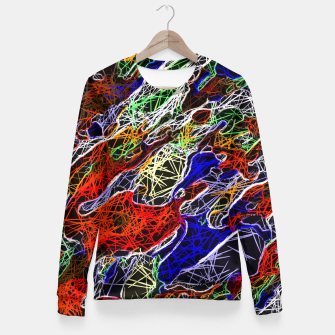 Miniature de image de psychedelic rotten sketching texture abstract background in red blue green Fitted Waist Sweater, Live Heroes