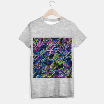 Miniaturka psychedelic rotten sketching texture abstract background in blue yellow pink T-shirt regular, Live Heroes
