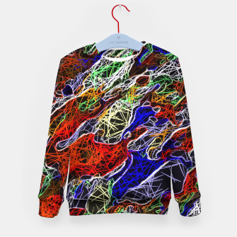 Miniatur psychedelic rotten sketching texture abstract background in red blue green Kid's Sweater, Live Heroes
