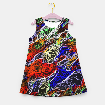 Miniaturka psychedelic rotten sketching texture abstract background in red blue green Girl's Summer Dress, Live Heroes