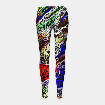 Thumbnail image of psychedelic rotten sketching texture abstract background in red blue green Girl's Leggings, Live Heroes