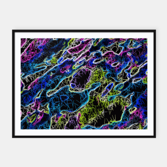 Miniature de image de psychedelic rotten sketching texture abstract background in blue yellow pink Framed poster, Live Heroes
