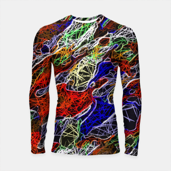 Miniature de image de psychedelic rotten sketching texture abstract background in red blue green Longsleeve Rashguard , Live Heroes